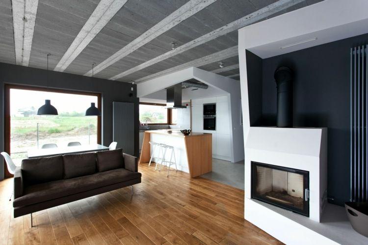 eine moderne decke kann auch wie hier mit beton gestaltet werden ideen rund ums haus. Black Bedroom Furniture Sets. Home Design Ideas