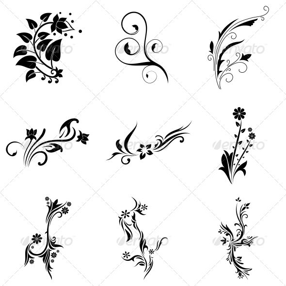 abstract tribal decorative flowers vector pack - Decorative Flowers