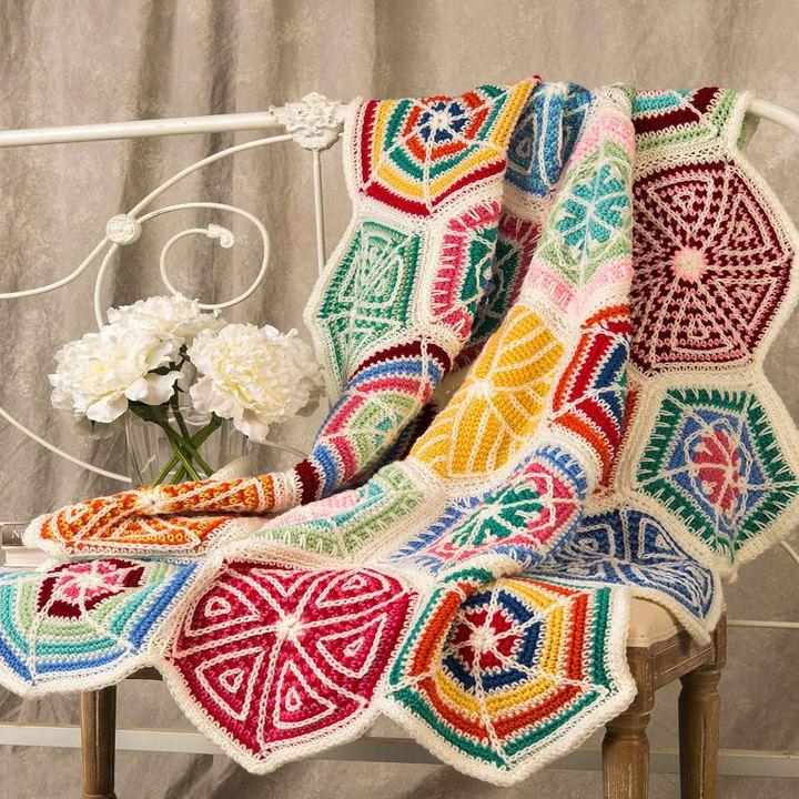 Mandala Sampler Throw   Red Heart   Crochet   Pinterest   Manta y ...