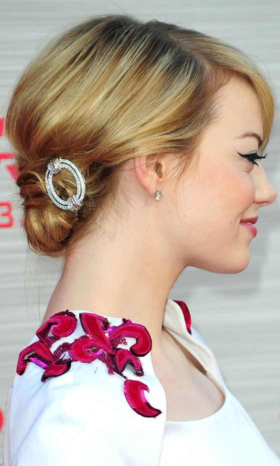 Bridesmaid Hairstyle: Emma Stones Hairstyle At The Amazing Spider-Man Premiere, 2012