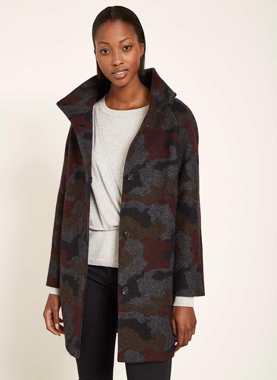 b25862f26b292 Grey Camouflage High Neck Coat | NEW ARRIVALS | Coat, Camouflage, Grey
