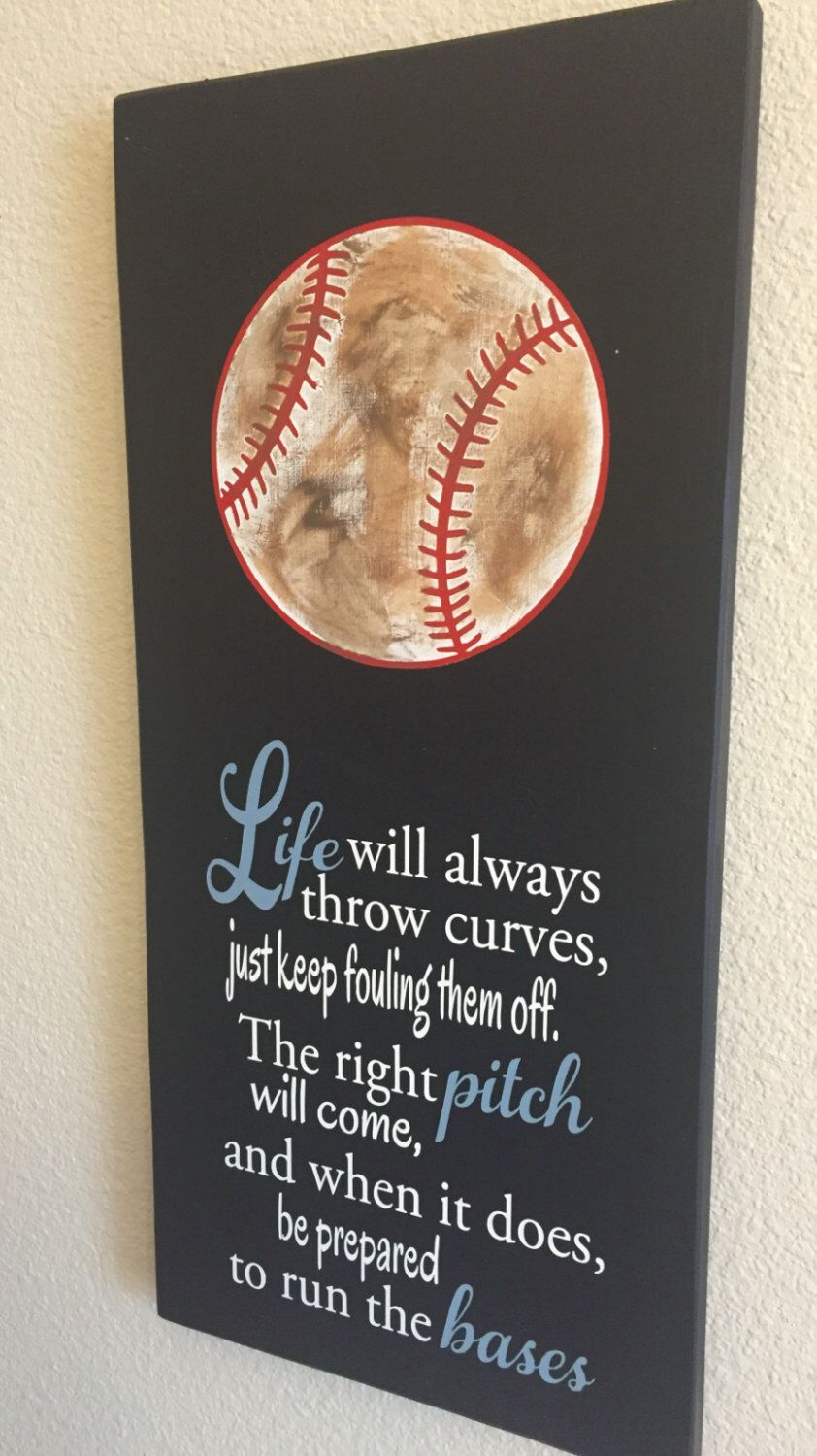 Softball friendship quotes quotesgram - Life Will Always Throw Curves Baseball Softball Sign Decor Inspirational Quote Baseball