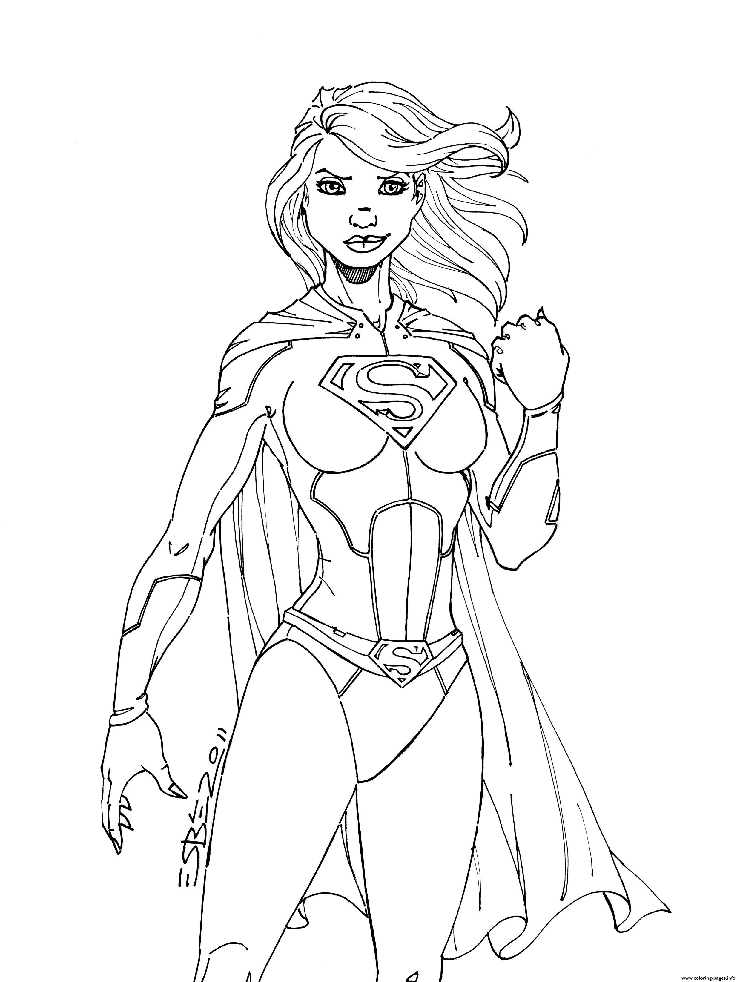 Print Superwoman Power Girl Coloring Pages Superhero Coloring