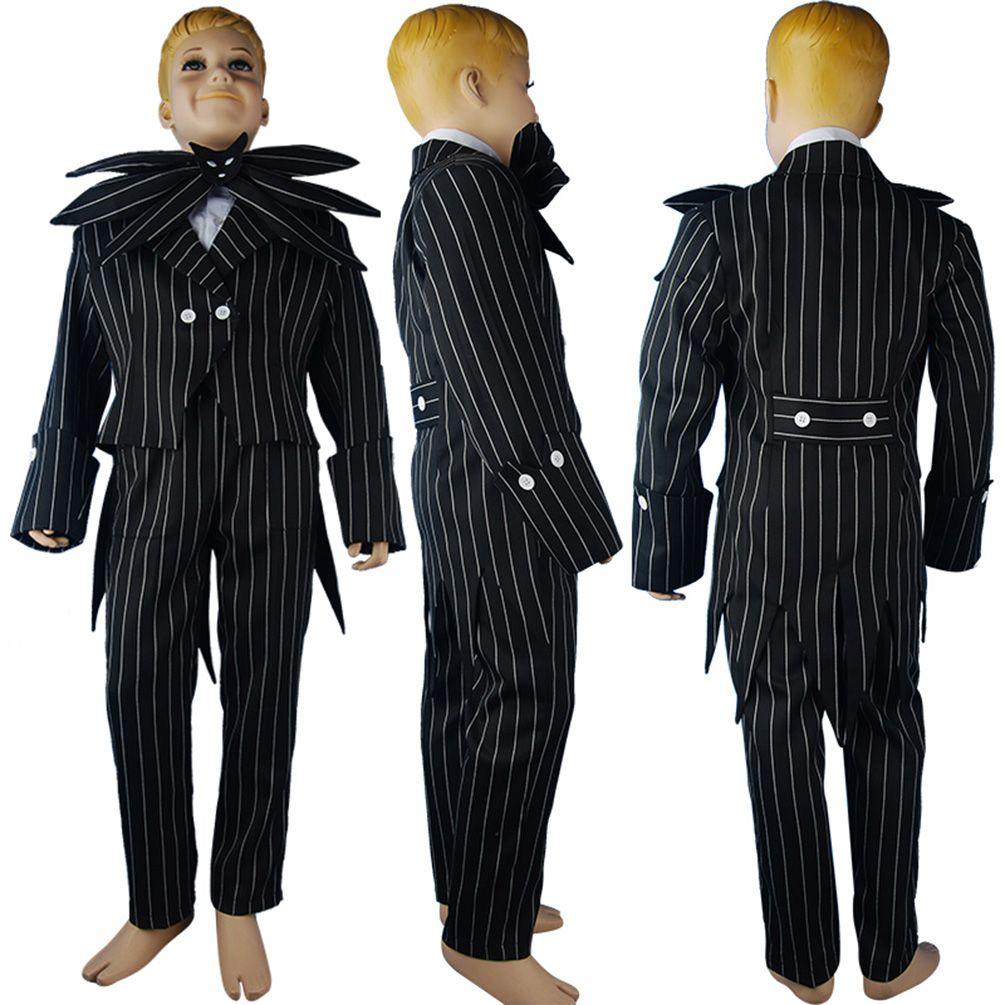 Nightmare Before Christmas cosplay Jack Skellington stripe uniform  halloween costume fancy xmas gift kids children