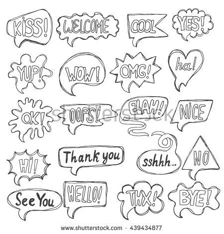 vector set of greeting comic speech quote bubbles comment