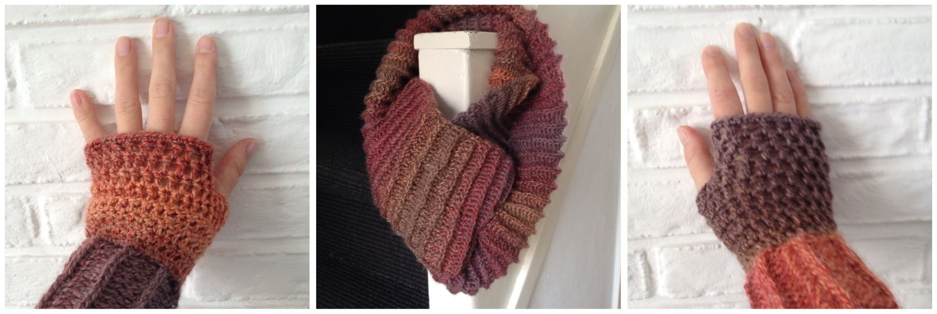 Crochet scarf and fingerless gloves in beautiful autumn colors  Can't wait to wear these!