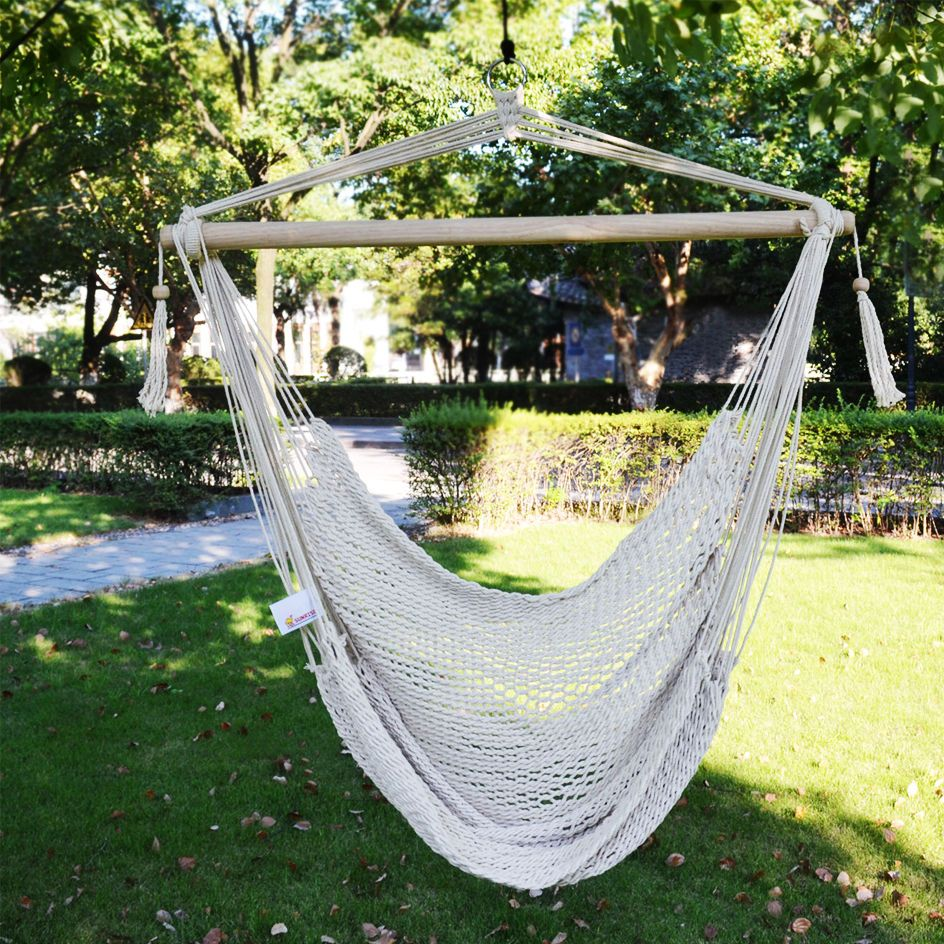 Hanging Tree Swing Cotton Rope Hammock Chair Seat Patio Porch Garden Outdoor