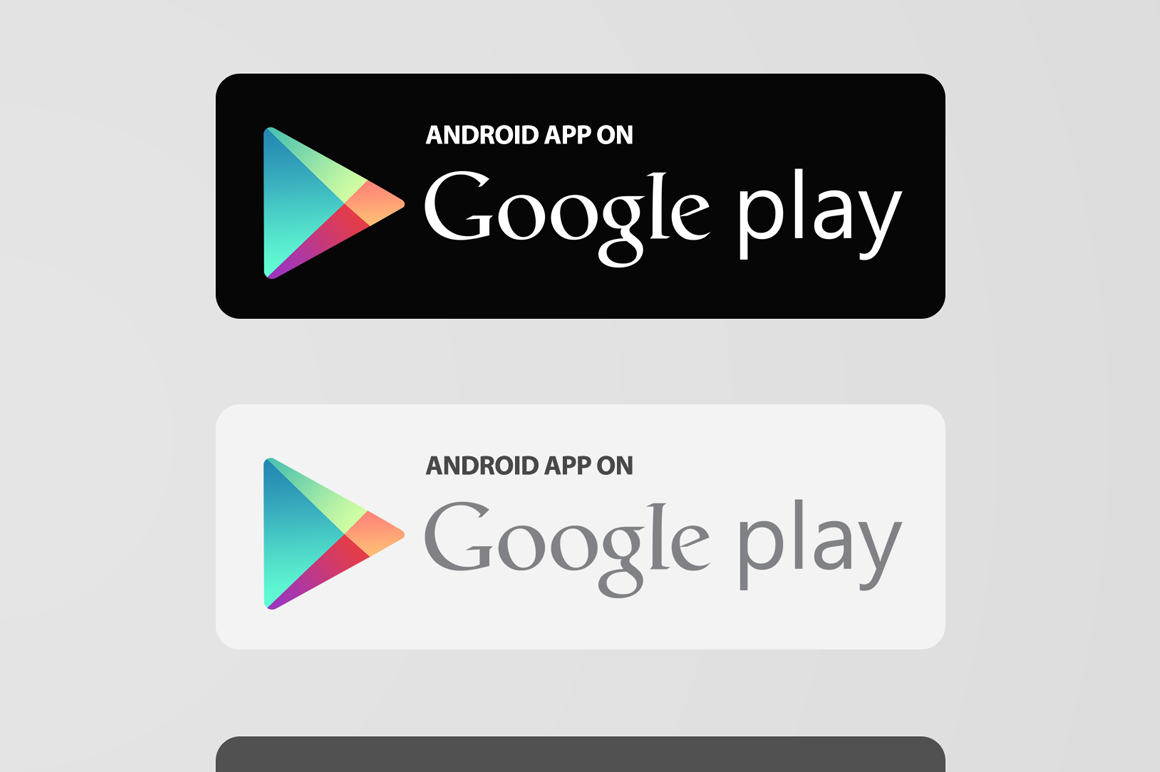 App Store & Google Play Buttons x2 Play button, Google play