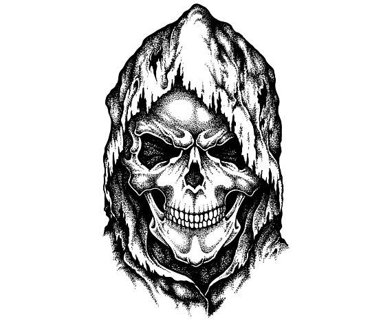 Skull, Death, Grim reaper, Tattoo, SVG, Graphics, Illustration, Vector, Logo, Digital, Clipart