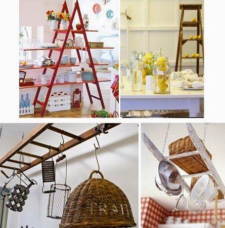 Ideas para reciclar escaleras en casa muebles pinterest ideas para reciclar escalera y el - Escaleras de madera decorativas ...