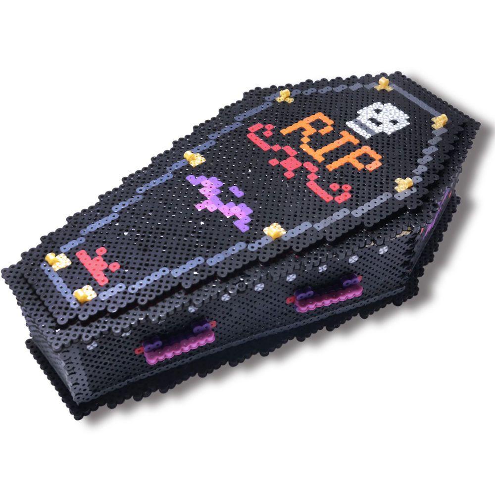 coffin treat box 3d tutorial | perler | crafts | perler ... box fuse bead ideas #14