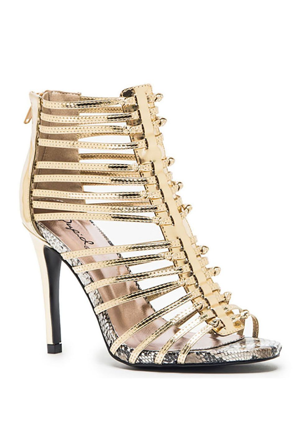 Qupid - Grammy-23 Strappy Sandals in Gold $29.99