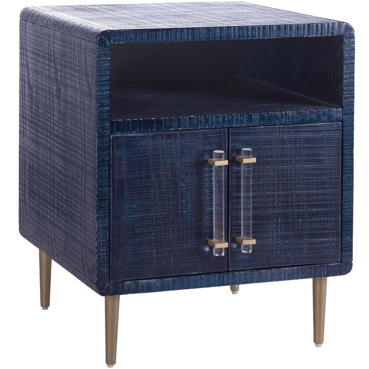 Candelabra Home Marco Lacquer Indigo Side Table Bedside Tables Nightstands Bedroom Furniture C End Tables With Storage Bedroom Night Stands Furniture