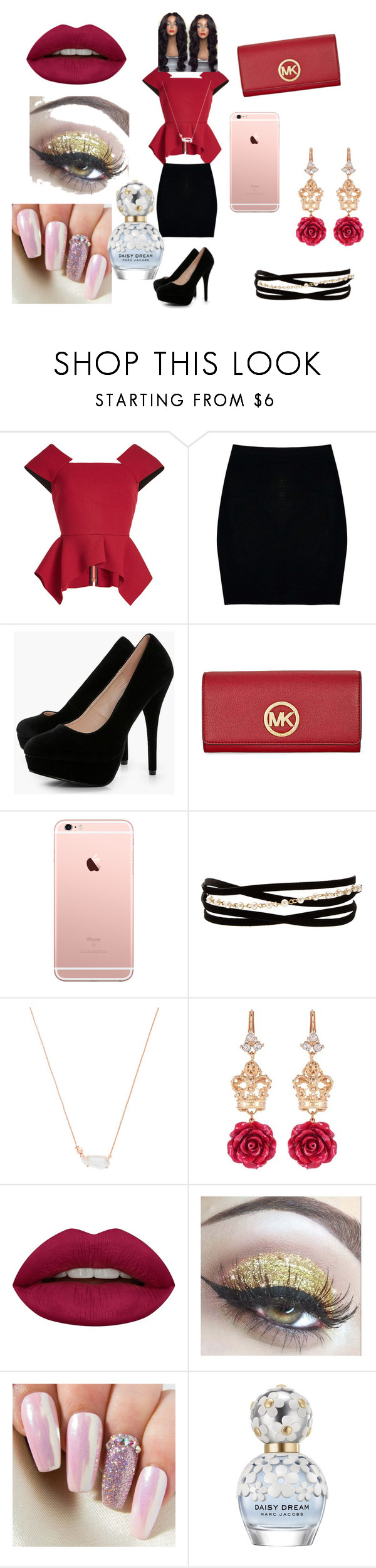 """""""Untitled #31"""" by kimorafrazier1234 on Polyvore featuring beauty, Roland Mouret, Boohoo, Michael Kors, Kenneth Jay Lane, Kendra Scott, Dolce&Gabbana, Huda Beauty and Marc Jacobs"""