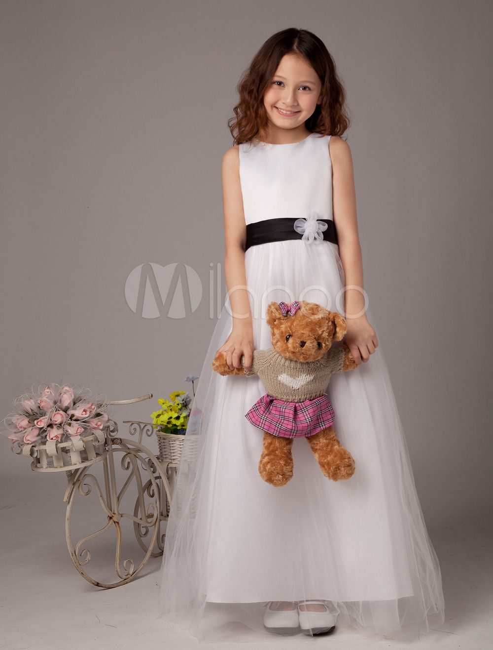 da5dce79421 Romantic Sleeveless Sash Satin Flower Girl Dress  Sash