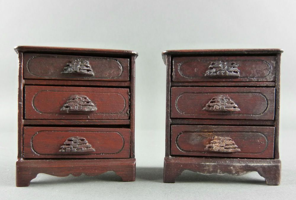 Carl Forslund Hillerby House 2 Bedside Tables Chests Vintage Dollhouse  Miniature 1:12 Scale