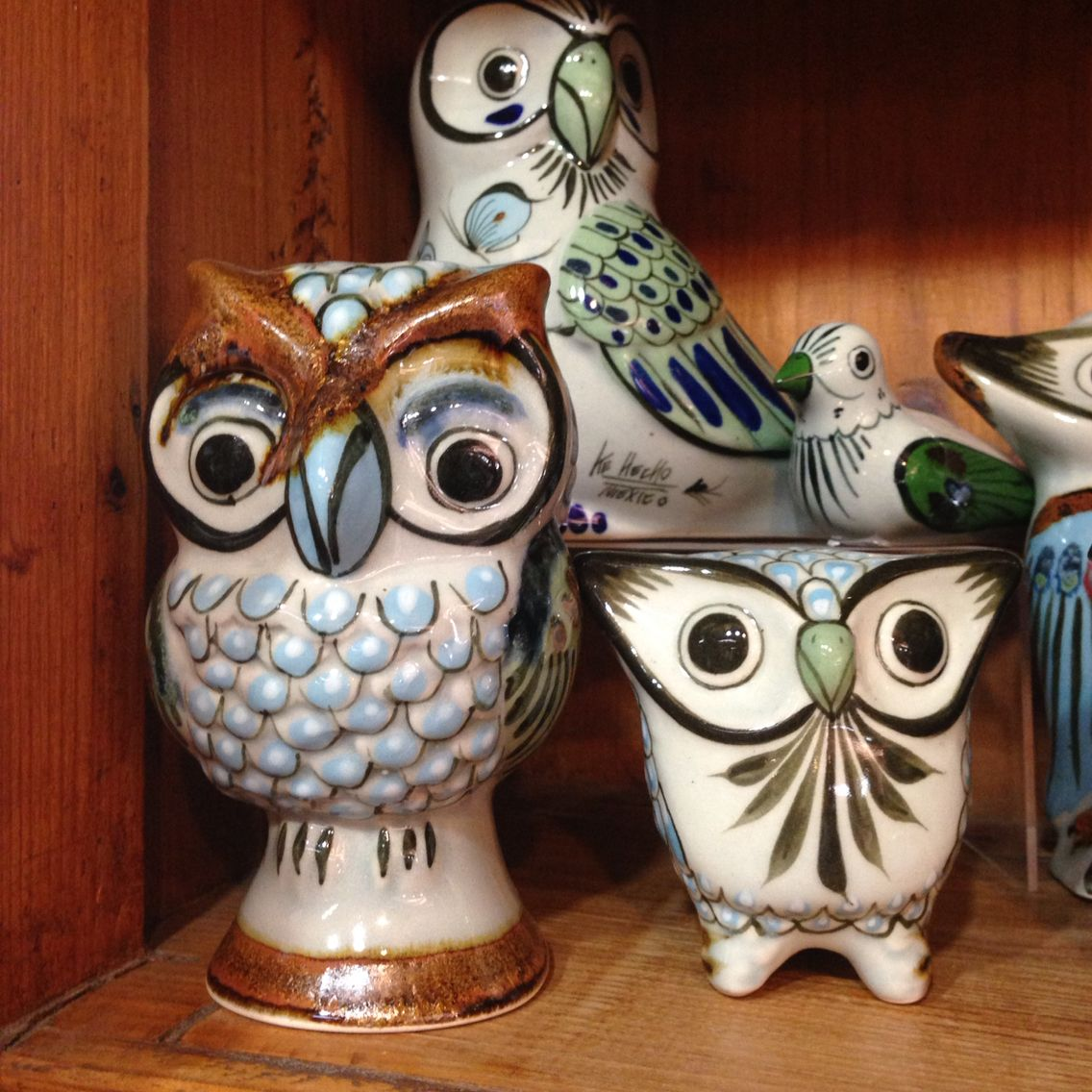 Owls by ken edwards mexican pottery clay birds