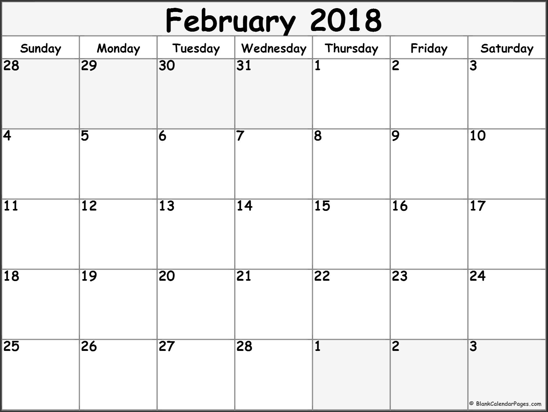 2018 monthly calendar template