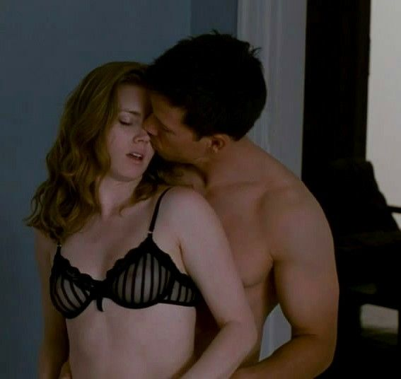 Amy Adams Showing Her Perfect Bust In Black See Through Bra