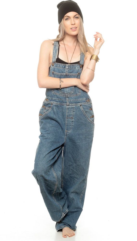75ac0054 Overalls Denim 90s Women GRUNGE Pants Long Jean Pants Baggy 1990s Suspender  Hipster Vintage Jumpsuit Cartpenter Blue Wide Leg Small Medium in 2019 |  1990'S.