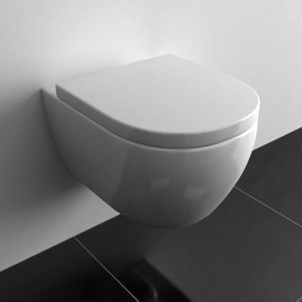 WC suspendu Orba Compact Blanc 48 cm + Abattant