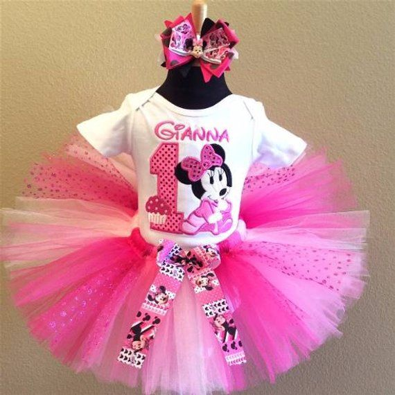 eab3621e7 3 Pc Baby Minnie Mouse Hot Pink Simple Number Tutu Set