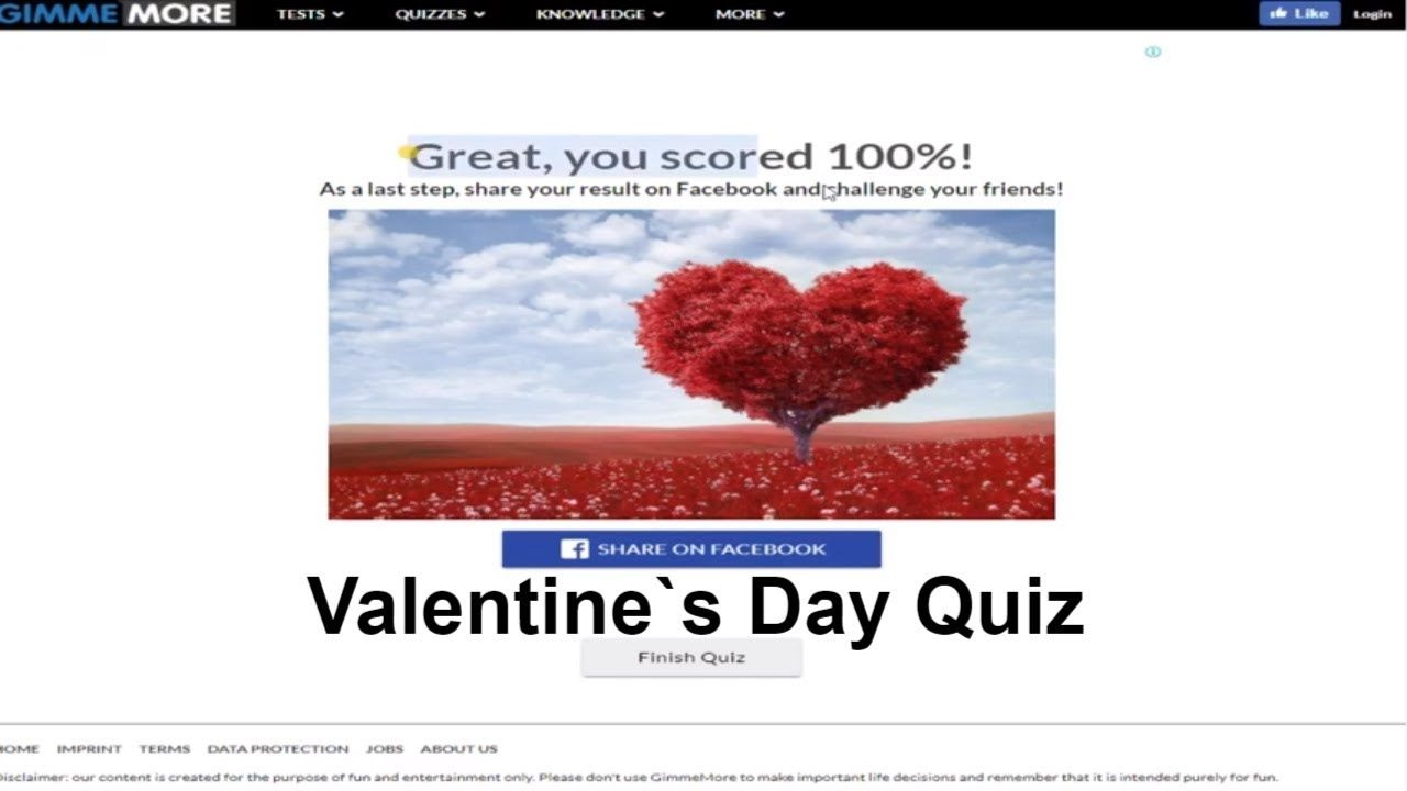 Valentine`s Day quiz answers V1 Gimme More 100% Score