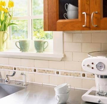 subway tile kitchen backsplash with accent tile | subway tile