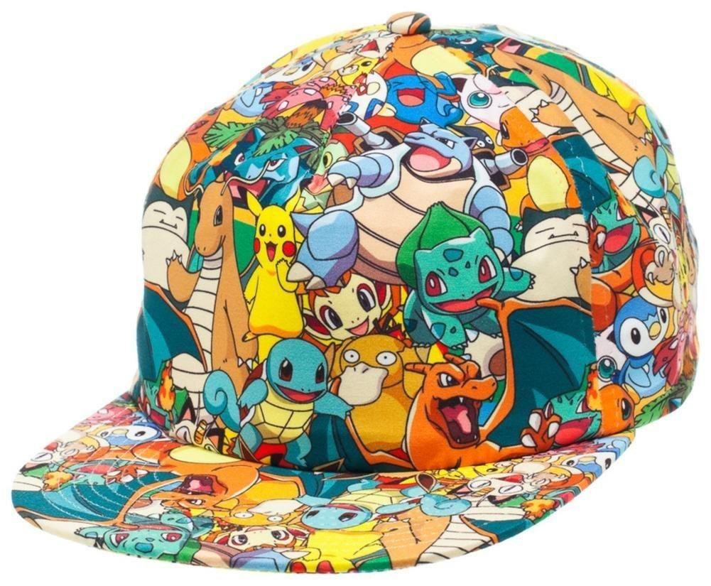 36b31300026 BIOWORLD Pokemon All Over Print Sublimated Snapback Cap Hat