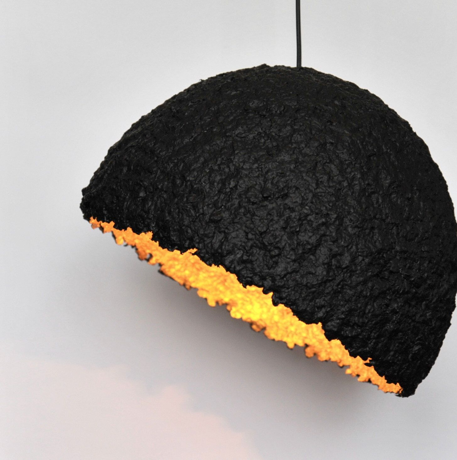 Paper Mache Ceiling Lampshade Black and Golden
