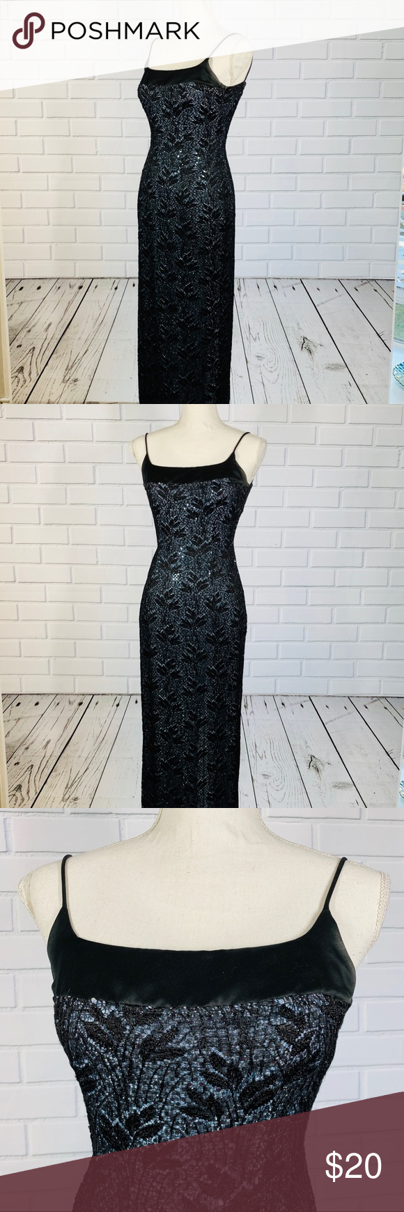 Morgan Co Blue Sequin Black Lace Prom Dress Black Lace Prom Dress Prom Dresses Lace Vintage Lace Prom Dress [ 1740 x 580 Pixel ]