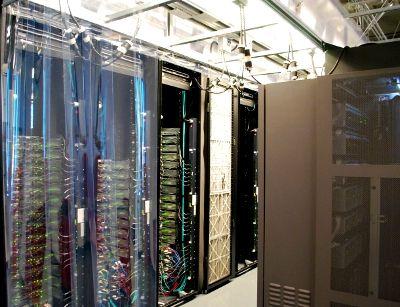 Aisle at a Brocade data center in San Jose, California.