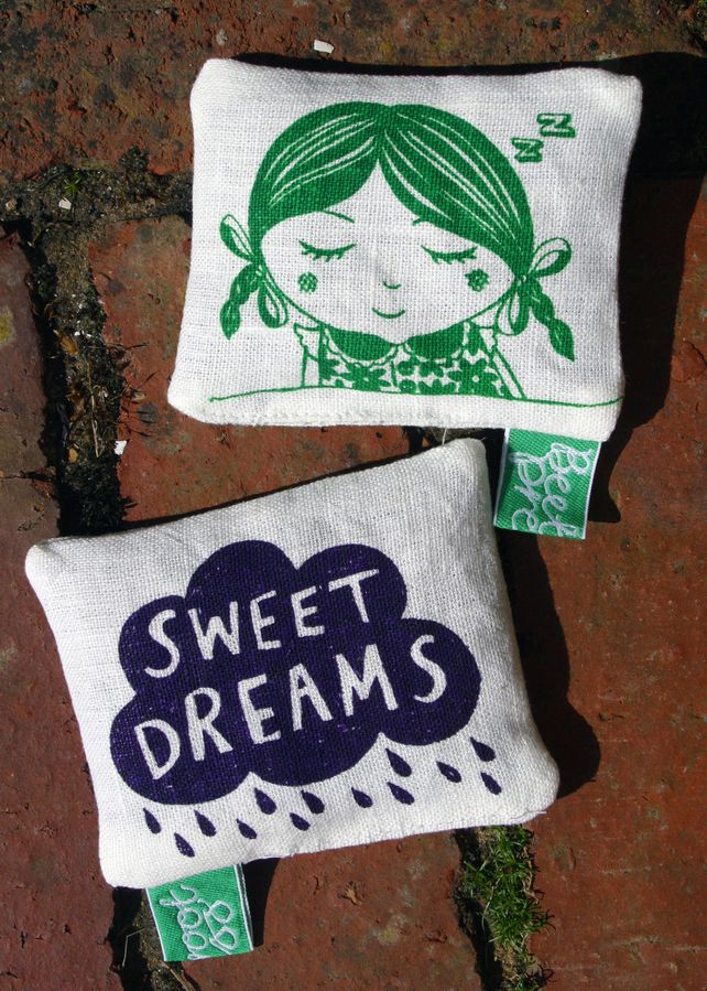 Organic lavender pillow, eco-friendly 'Genevieve' print with 'Sweet dreams' cloud print reverse.  by Beetroot Press, Folksy