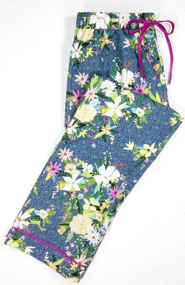 Iza Pearl Pajama Pants - Indigo Blush & Blooms