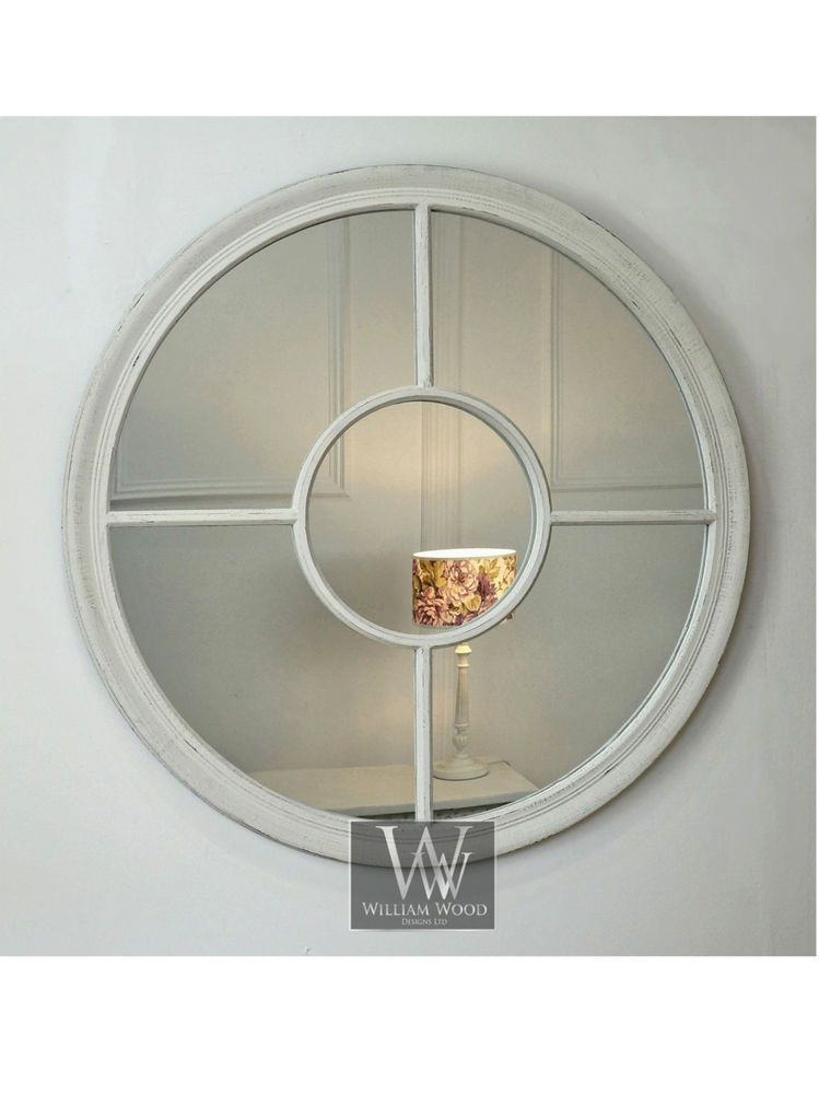 "Shabby Chic Wall Mirror rennes white shabby chic round window wall mirror 28"" x 28"" large"
