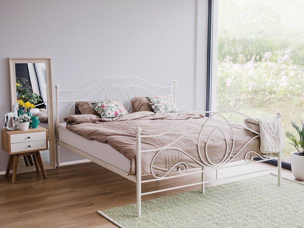 Metal Bed - Super King Size Bed Frame - 180x200 cm - White - LYRA