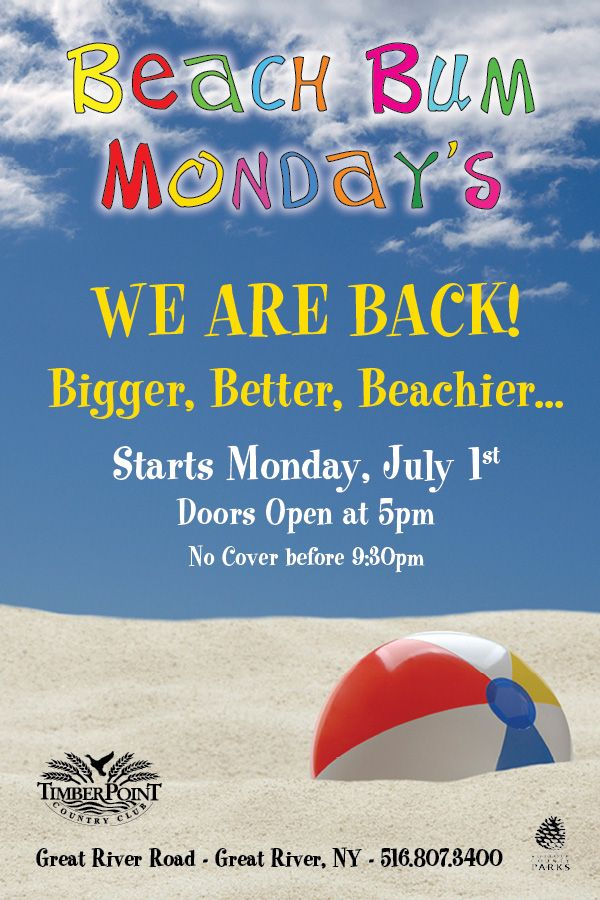 Beach Bum Mondays at Timber Point #summer #GreatRiver #timberpoint ...