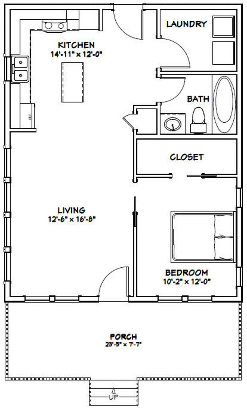 24x30 House 1 Bedroom 1 Bath 720 Sq Ft Pdf Floor Plan Instant Download Model 2e Tiny House Floor Plans Garage House Plans Tiny House Plans