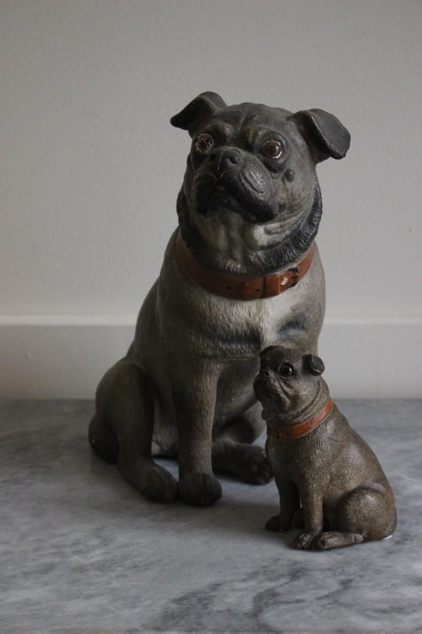 Set Of Two Late 19th Century Painted Terracotta Pugs In 2020