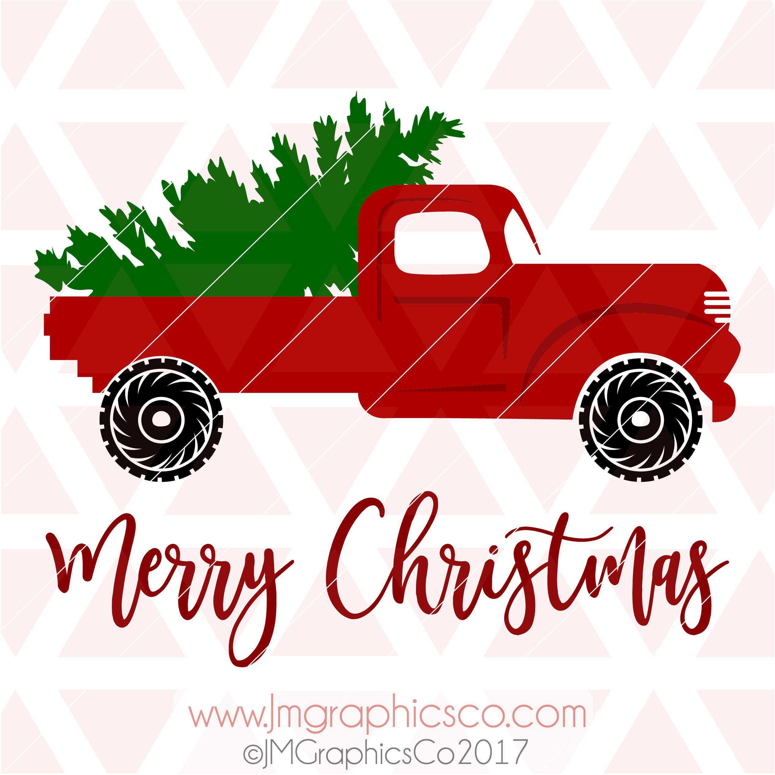 Red Christmas Truck Svg, Dxf, Cricut, Cameo, Cut , Christmas
