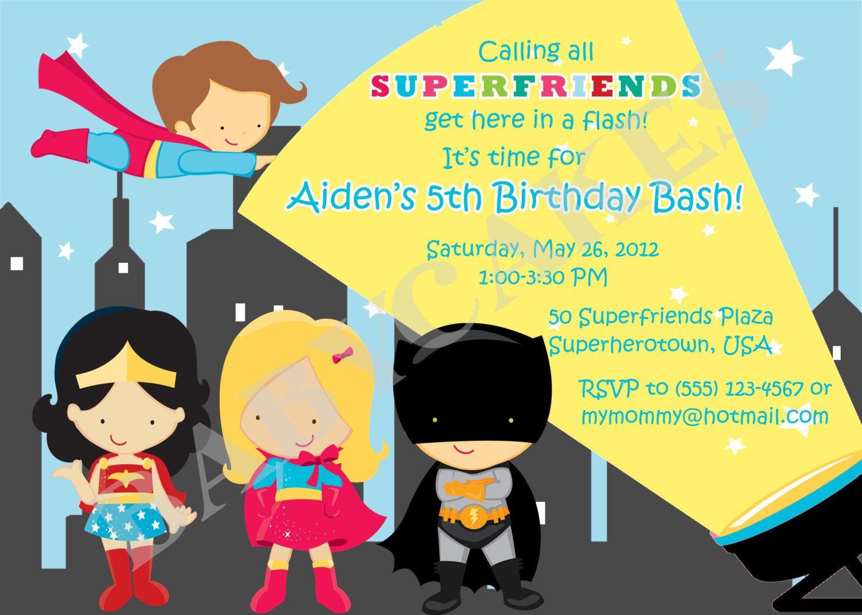 Boy and Girl Superhero Birthday Invitation Superfriends - DIY Print ...