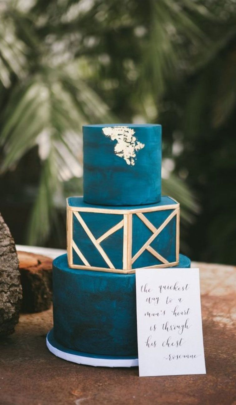 3 tier teal wedding cake with gold accents #weddingcake , wedding cakes