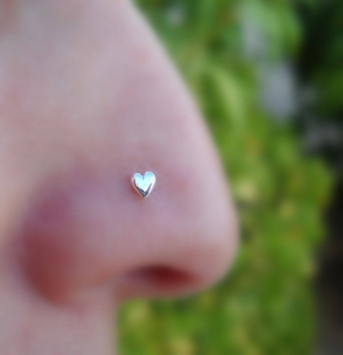 Valentine Heart Nose Ring Stud Sterling Silver Handcrafted $10 95