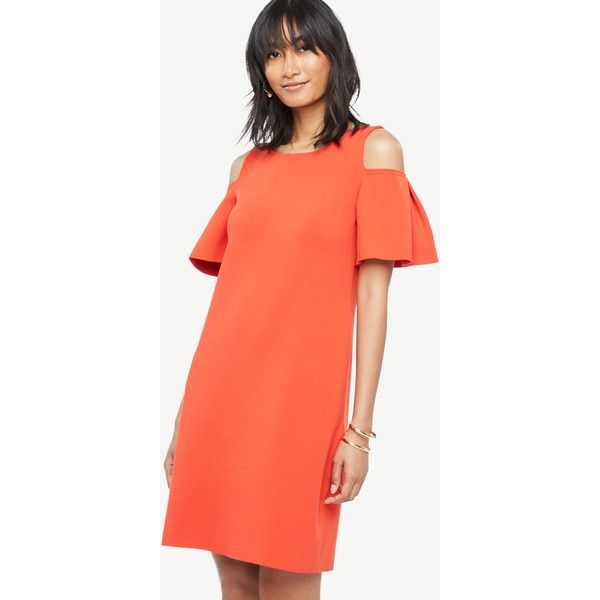 Ann Taylor Cold Shoulder Sweater Dress ($129) ❤ liked on