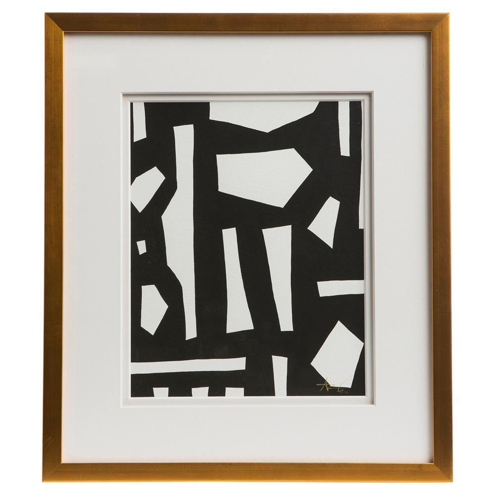 Peyton modern classic black white gold frame wall art iii kathy kuo home