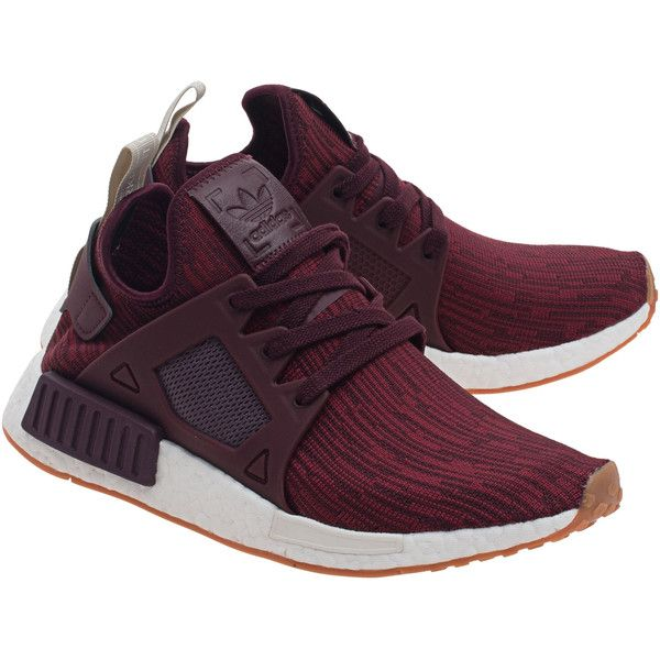 b185ff4194c22 ADIDAS ORIGINALS NMD Primeknit Maroon    Flat textile sneakers (250 450  LBP)   liked on Polyvore featuring shoes