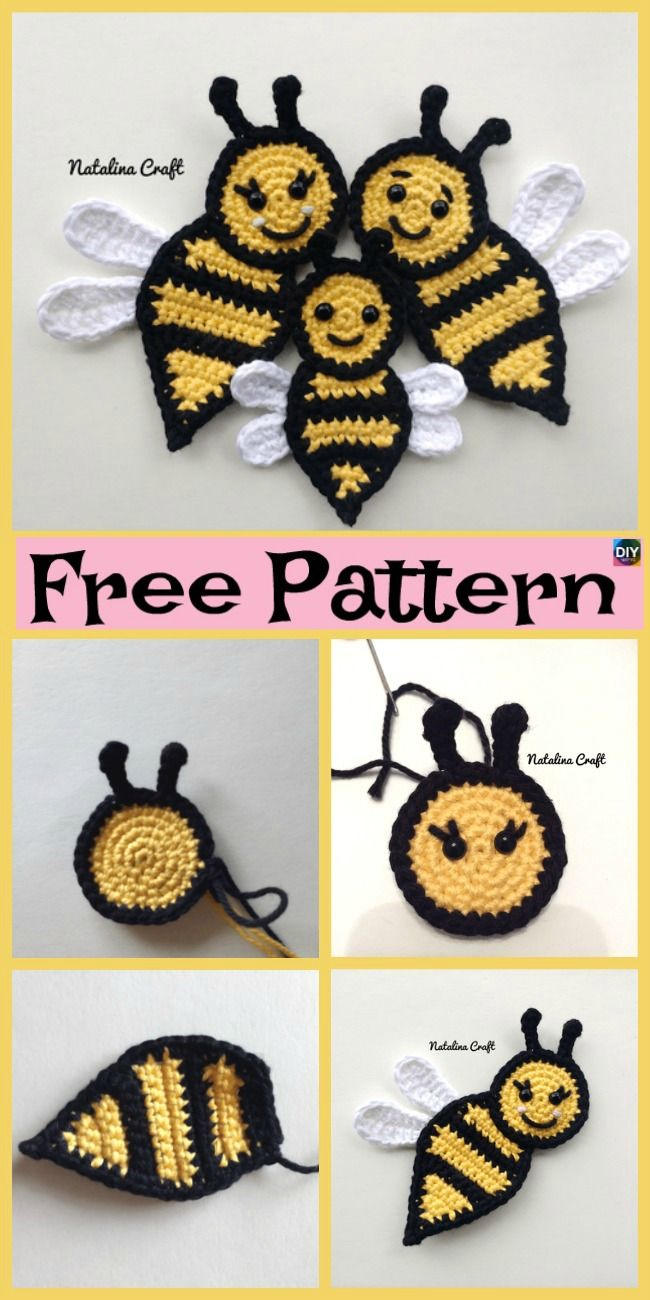 Cute Crochet Applique Bees – Free Patterns