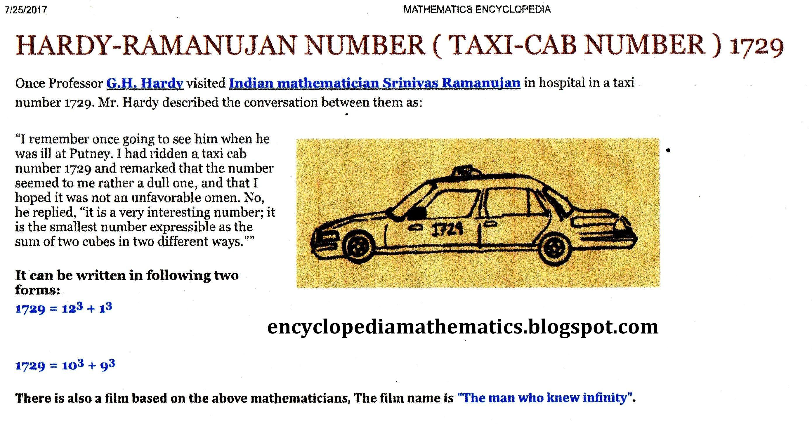 Hardy-Ramanujan number ( 1729 )    MATHEMATICS ENCYCLOPEDIA