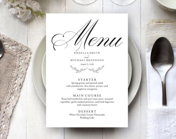Wedding Menu Template Wedding Dinner Menu Rustic Wedding  Wedding
