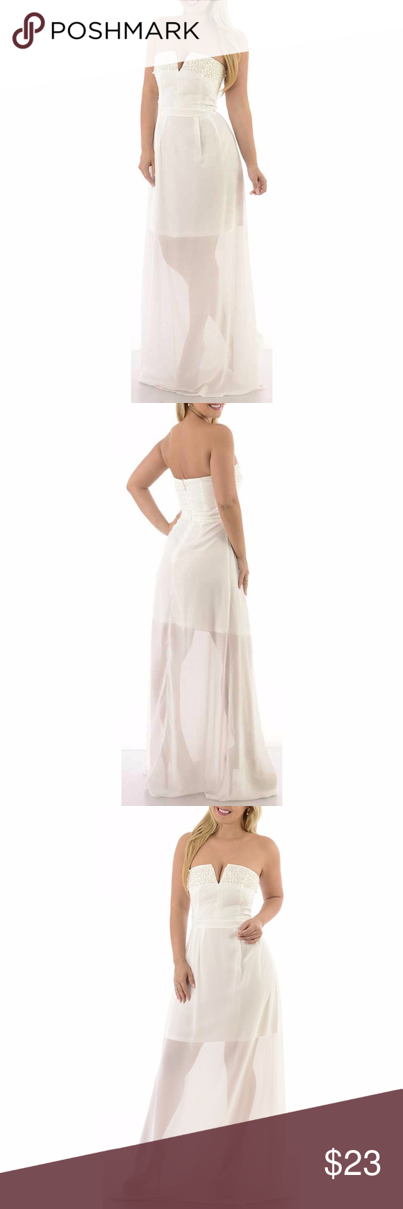 Wedding dresses for small bust  White Long Strapless Wedding Gown Dress maxi Ium u D  Waist